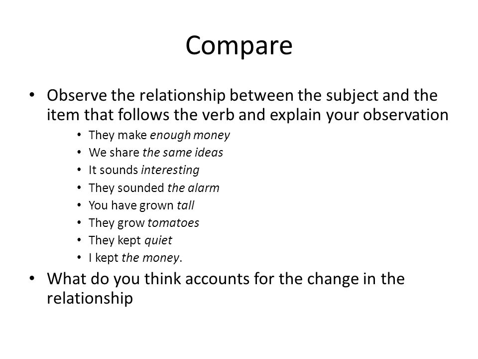 Compare Observe the relationship between the subject and the item that follows the verb and explain your observation.