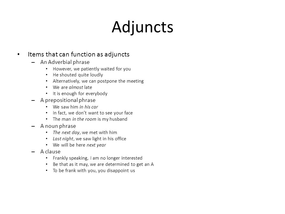 Adjuncts Items that can function as adjuncts An Adverbial phrase