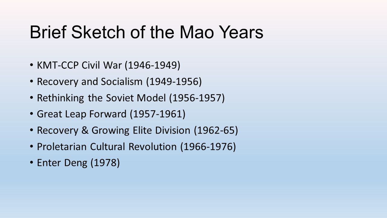 Brief Sketch of the Mao Years