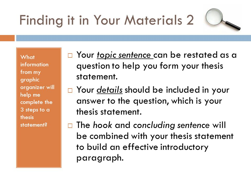Finding it in Your Materials 2