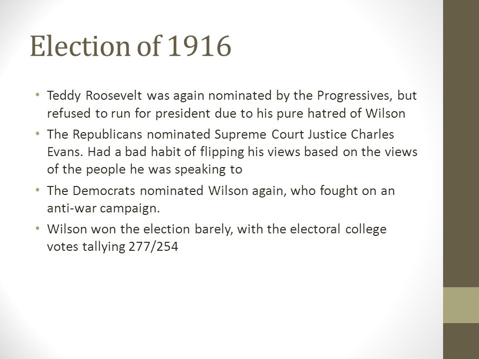 Election of 1916 Teddy Roosevelt was again nominated by the Progressives, but refused to run for president due to his pure hatred of Wilson.