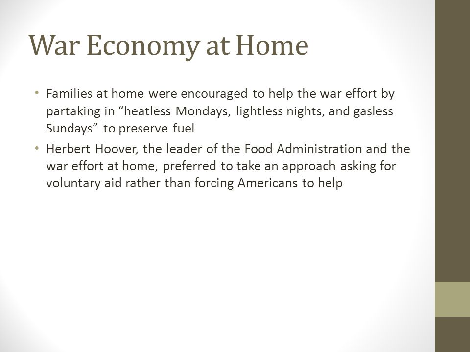 War Economy at Home