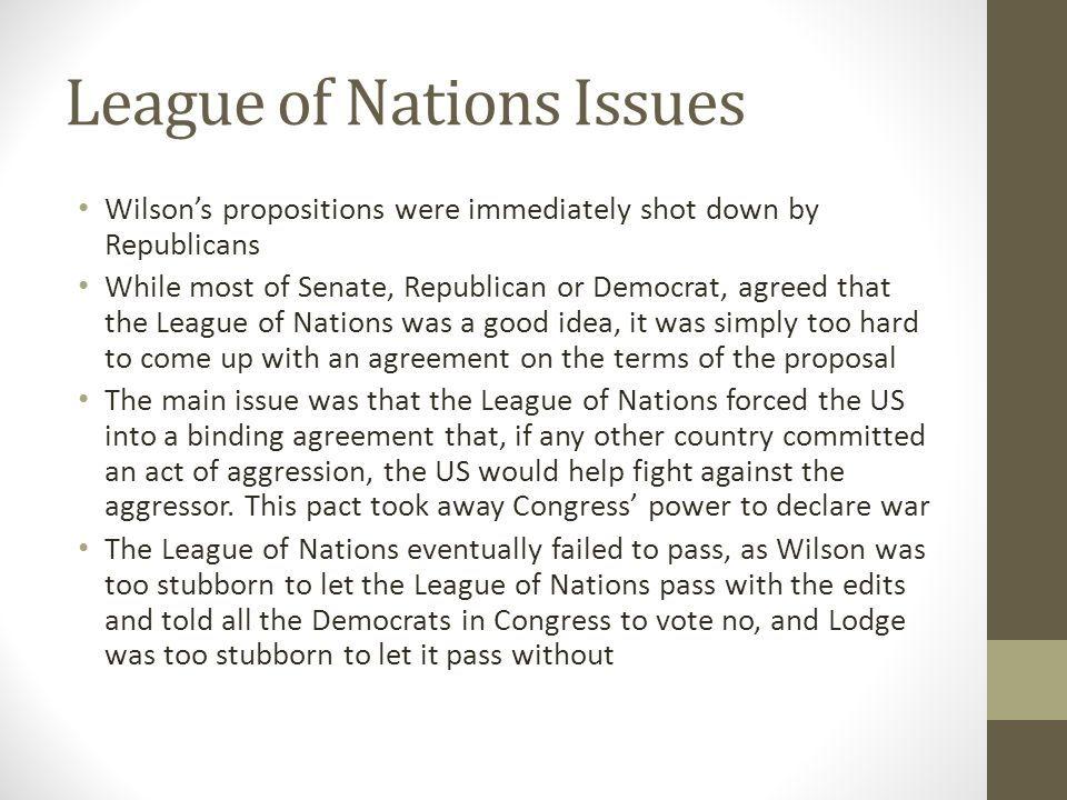 League of Nations Issues