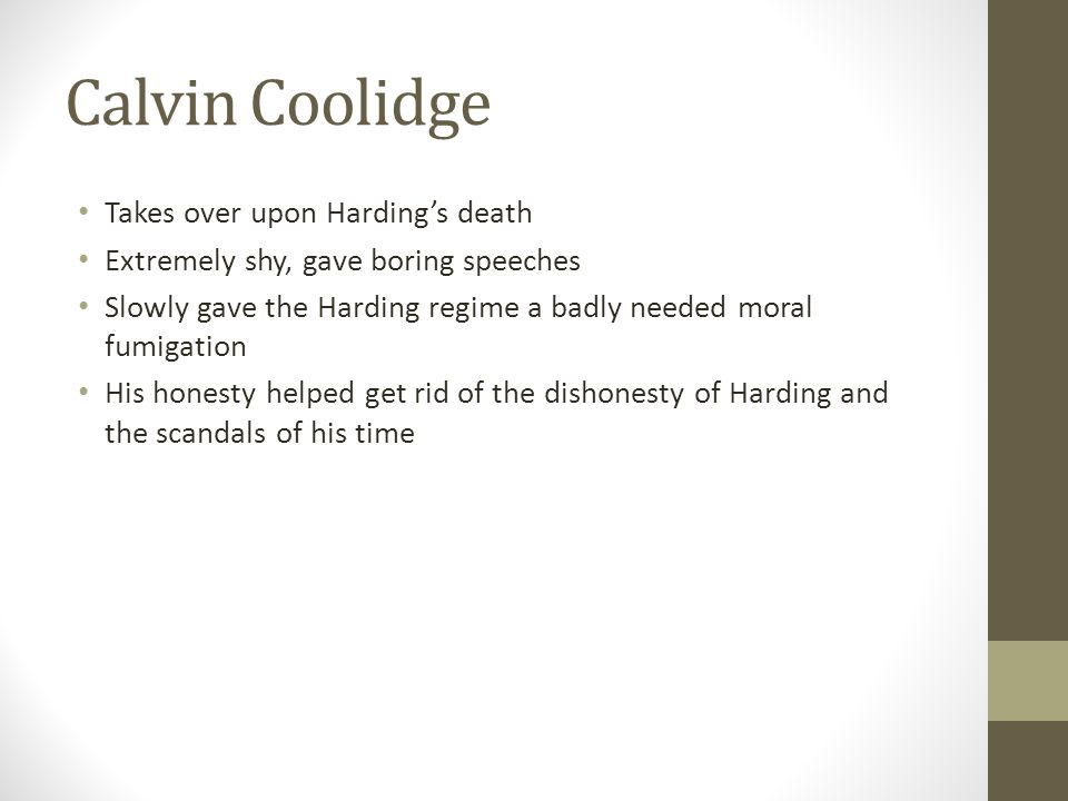 Calvin Coolidge Takes over upon Harding's death