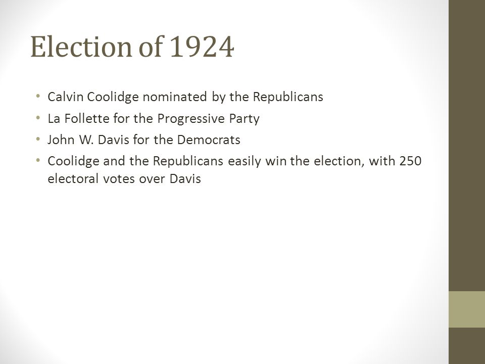 Election of 1924 Calvin Coolidge nominated by the Republicans