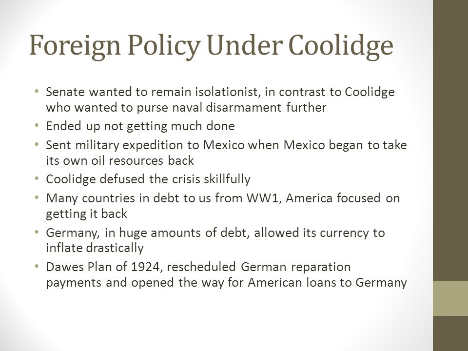 Foreign Policy Under Coolidge