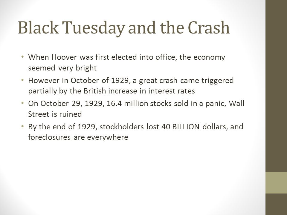 Black Tuesday and the Crash
