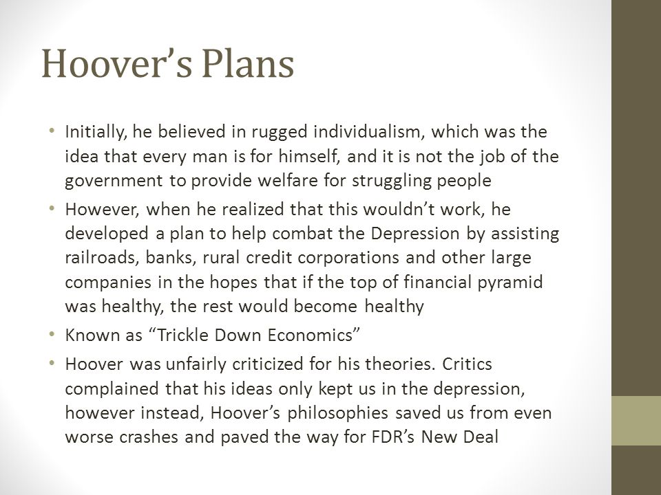 Hoover's Plans