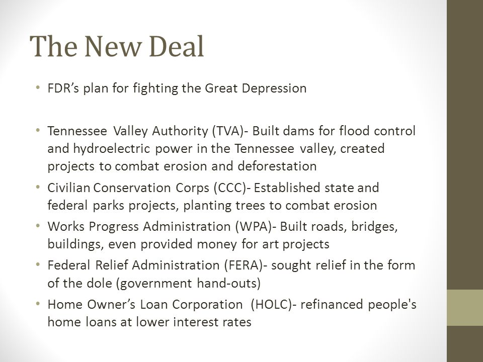 The New Deal FDR's plan for fighting the Great Depression