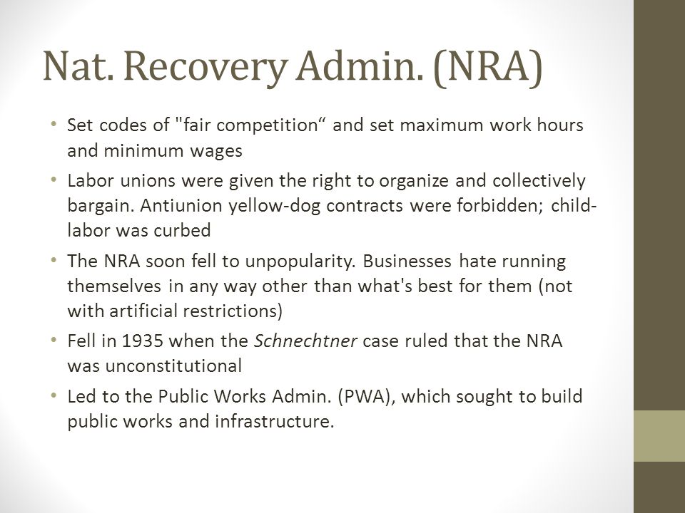 Nat. Recovery Admin. (NRA)