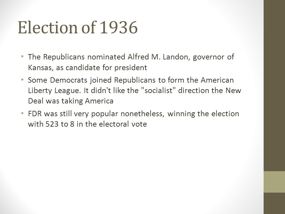 Election of 1936 The Republicans nominated Alfred M. Landon, governor of Kansas, as candidate for president.