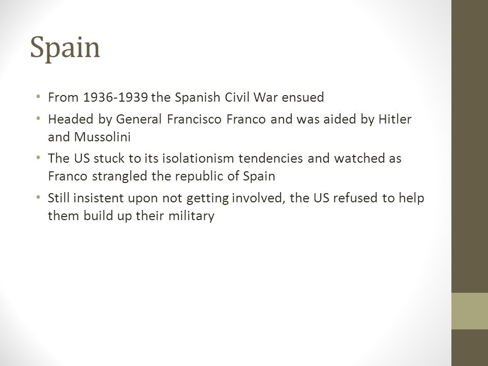 Spain From 1936-1939 the Spanish Civil War ensued