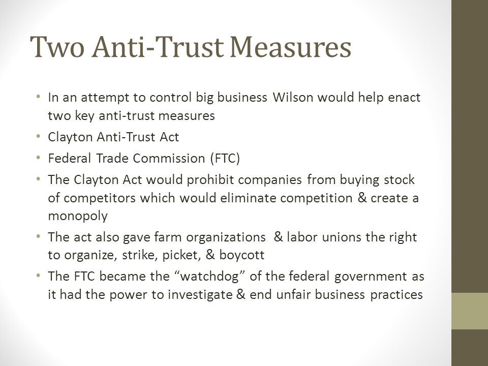 Two Anti-Trust Measures
