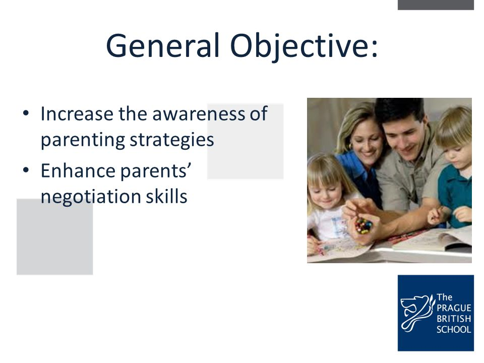 General Objective: Increase the awareness of parenting strategies