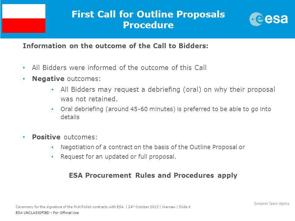 First Call for Outline Proposals Procedure