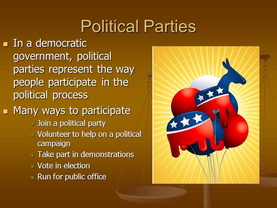 Political Parties In a democratic government, political parties represent the way people participate in the political process.