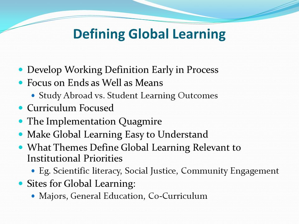 Defining Global Learning