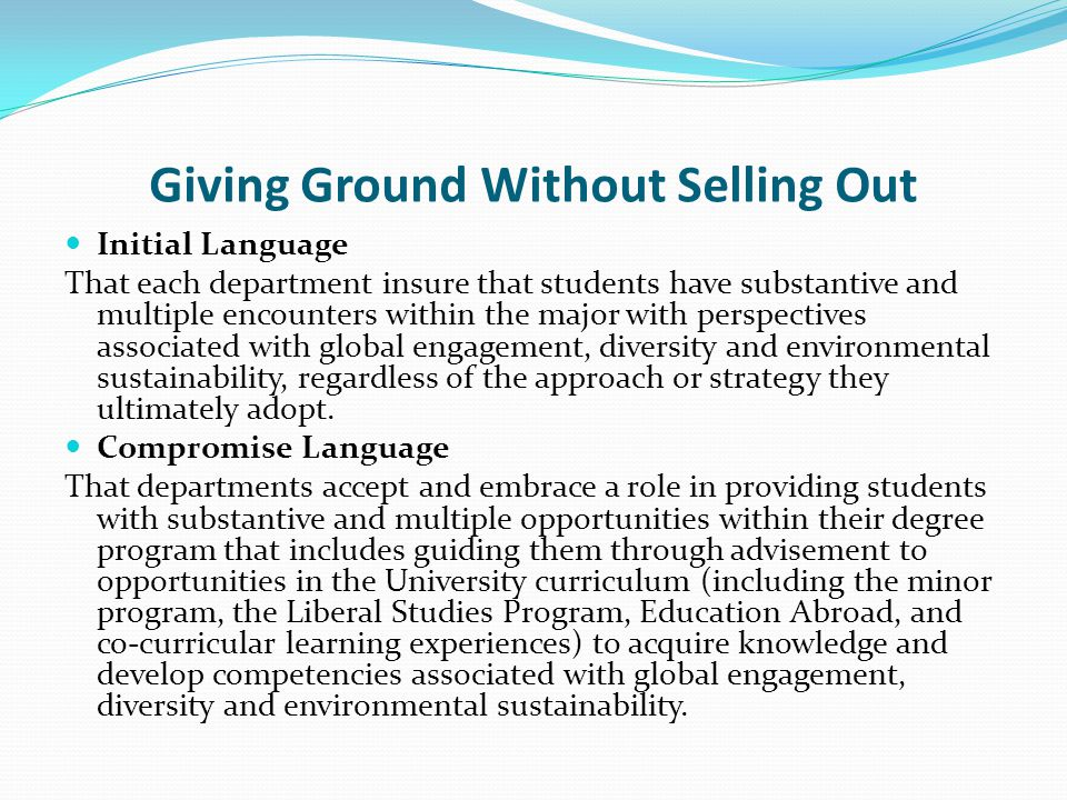 Giving Ground Without Selling Out