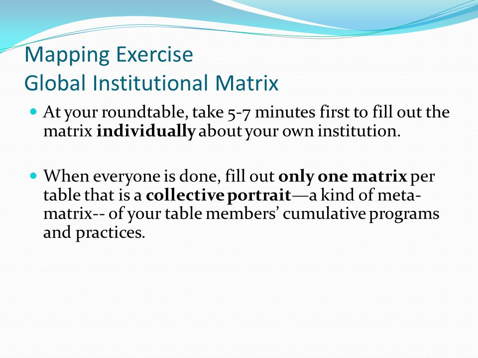 Mapping Exercise Global Institutional Matrix