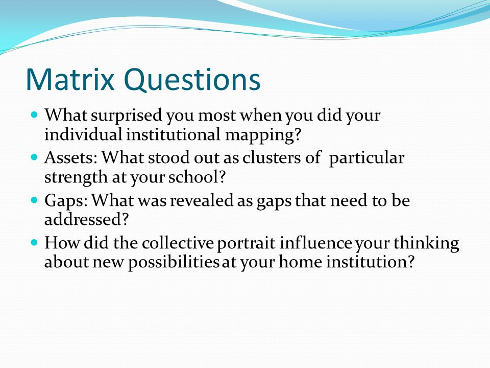 Matrix Questions What surprised you most when you did your individual institutional mapping
