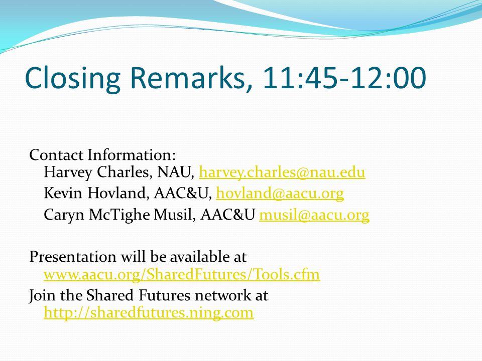 Closing Remarks, 11:45-12:00 Contact Information: Harvey Charles, NAU, harvey.charles@nau.edu. Kevin Hovland, AAC&U, hovland@aacu.org.