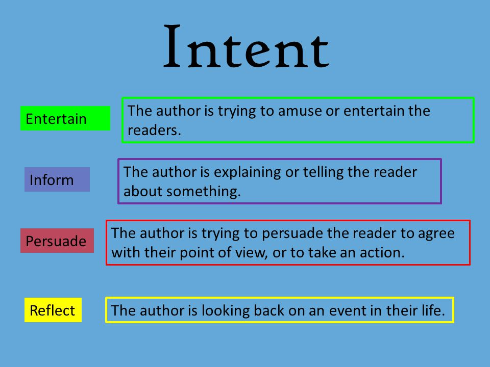 Intent The author is trying to amuse or entertain the readers.