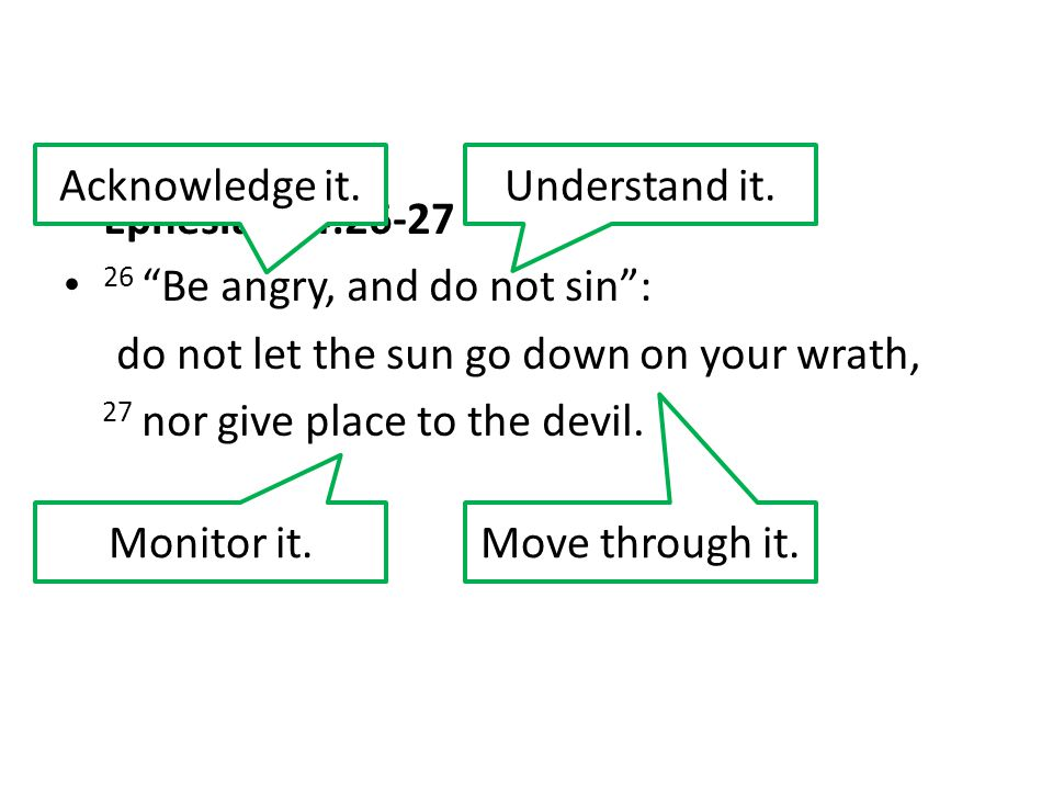 Acknowledge it. Understand it. Ephesians 4:26-27. 26 Be angry, and do not sin : do not let the sun go down on your wrath,