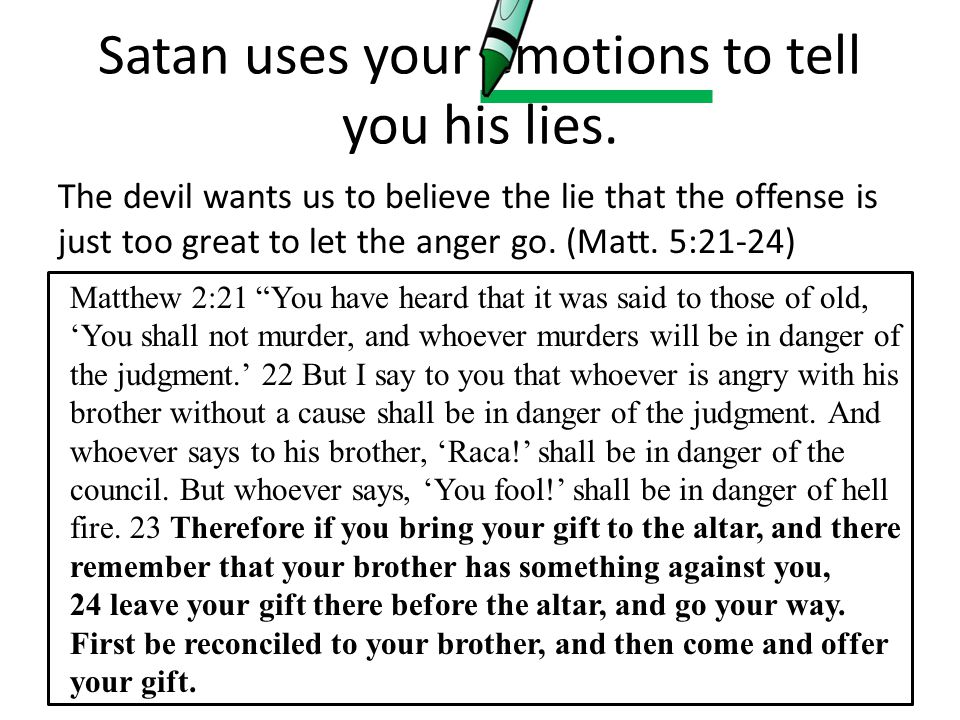Satan uses your emotions to tell you his lies.