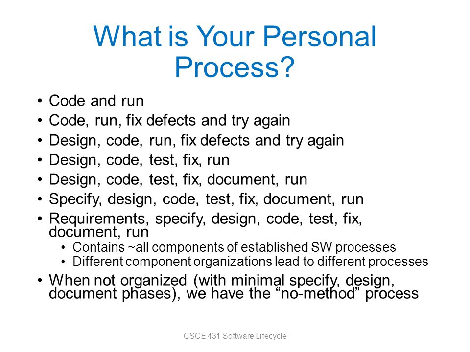 What is Your Personal Process