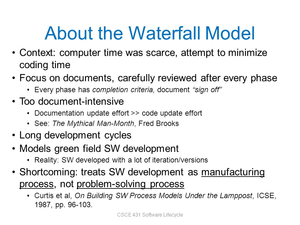 About the Waterfall Model