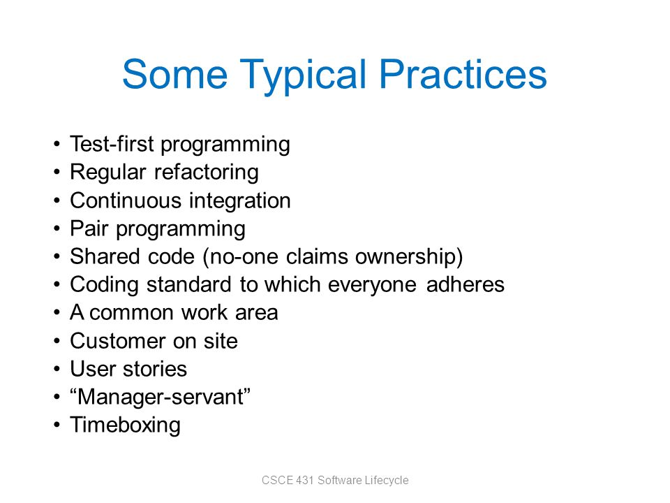 Some Typical Practices