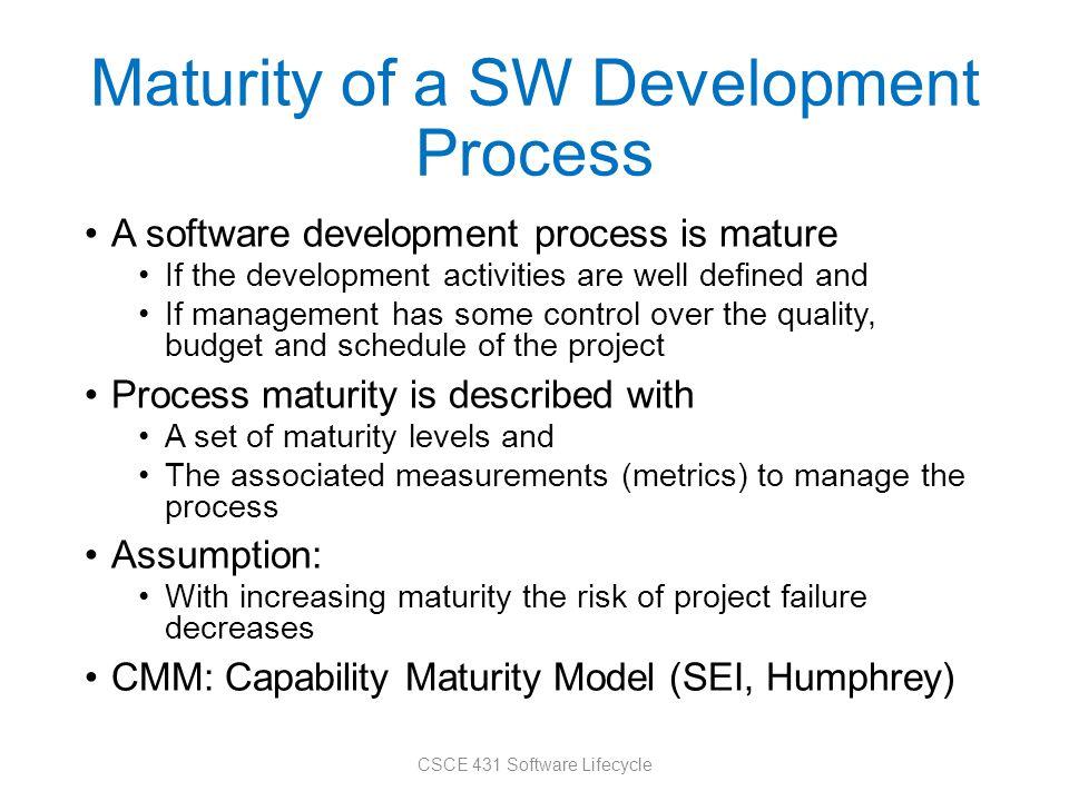 Maturity of a SW Development Process