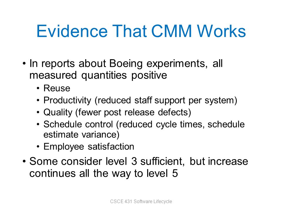Evidence That CMM Works