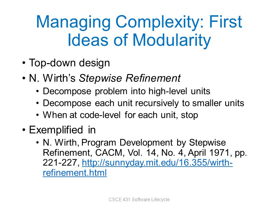 Managing Complexity: First Ideas of Modularity