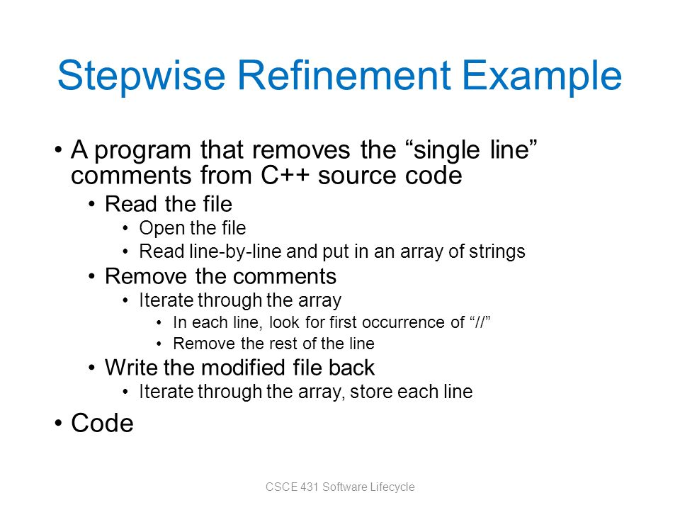 Stepwise Refinement Example