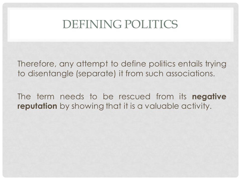 Defining politics