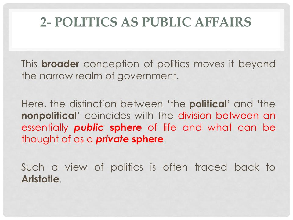 2- Politics as Public Affairs