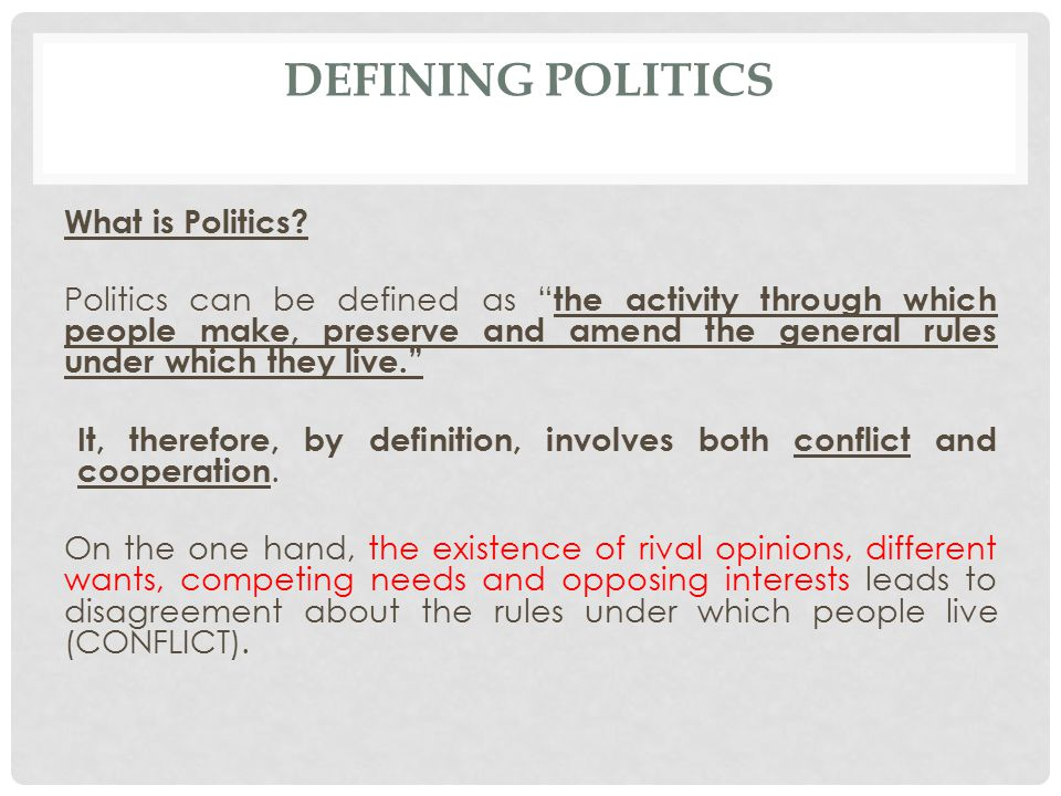 Defining politics What is Politics