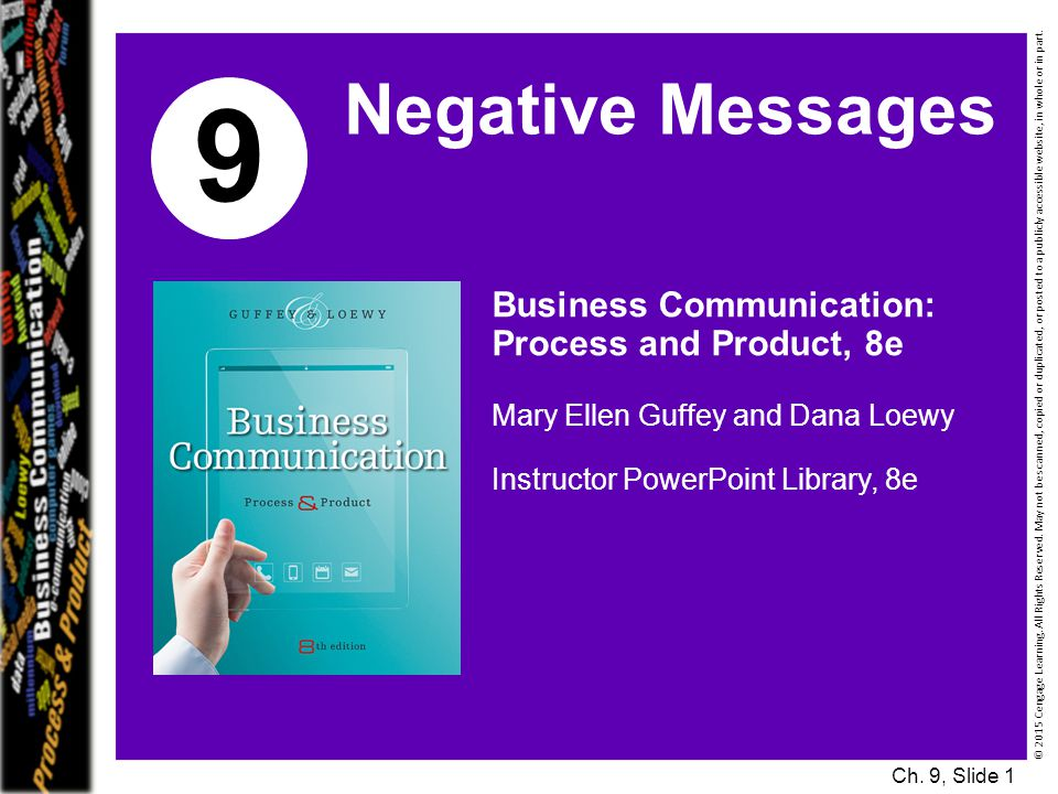 9 Negative Messages Business Communication: Process and Product, 8e