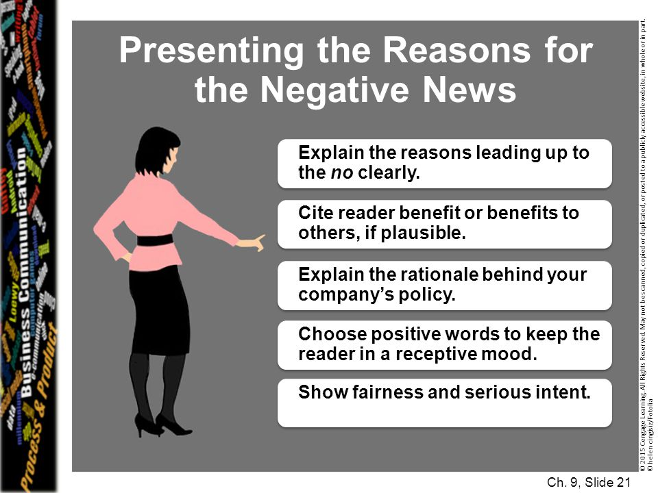 Presenting the Reasons for the Negative News