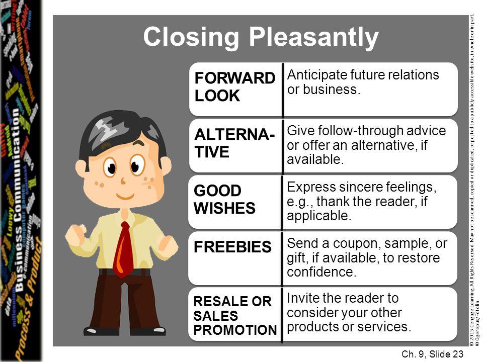 Closing Pleasantly FORWARD LOOK ALTERNA-TIVE GOOD WISHES FREEBIES
