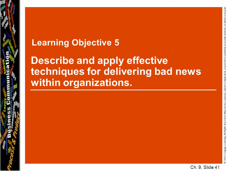Learning Objective 5 Describe and apply effective techniques for delivering bad news within organizations.