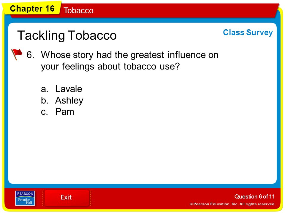 Tackling Tobacco Class Survey. Whose story had the greatest influence on your feelings about tobacco use