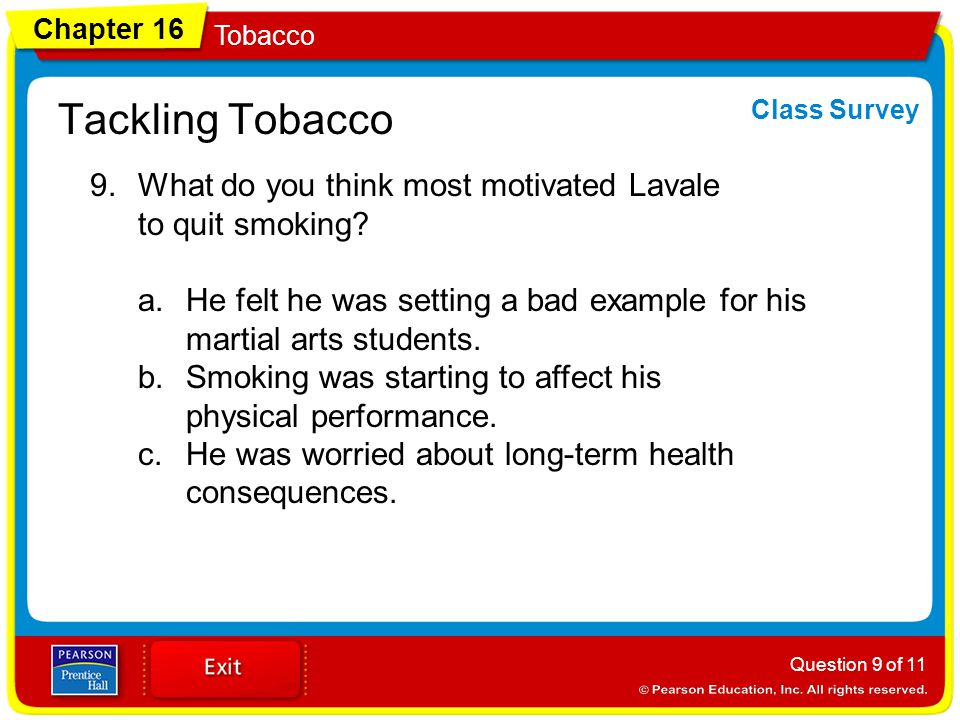 Tackling Tobacco Class Survey. What do you think most motivated Lavale to quit smoking