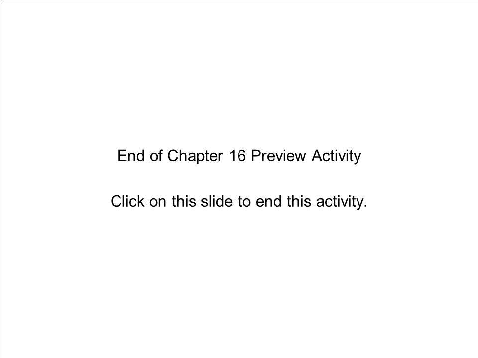End of Chapter 16 Preview Activity