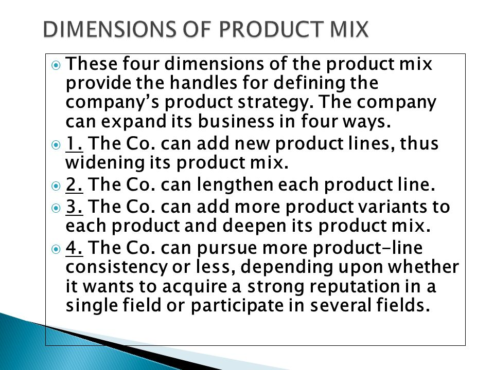 DIMENSIONS OF PRODUCT MIX