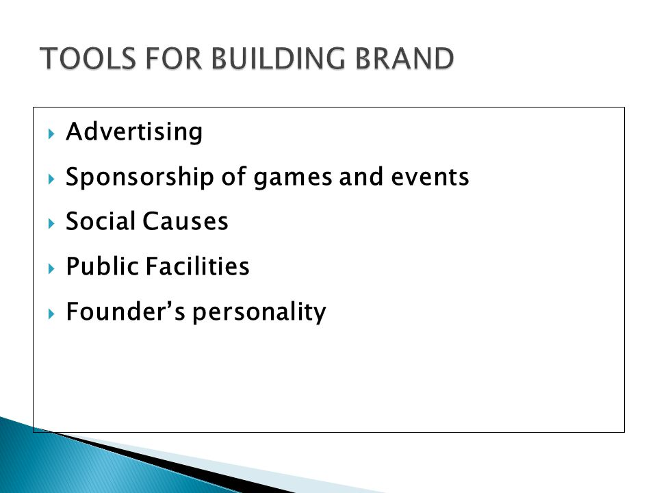 TOOLS FOR BUILDING BRAND