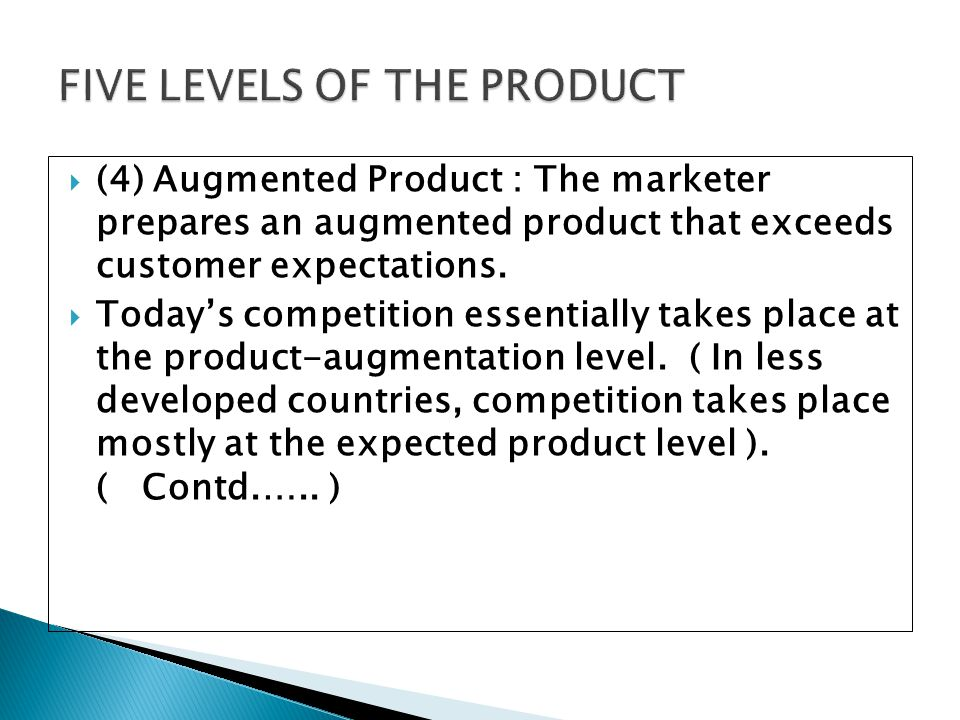 FIVE LEVELS OF THE PRODUCT