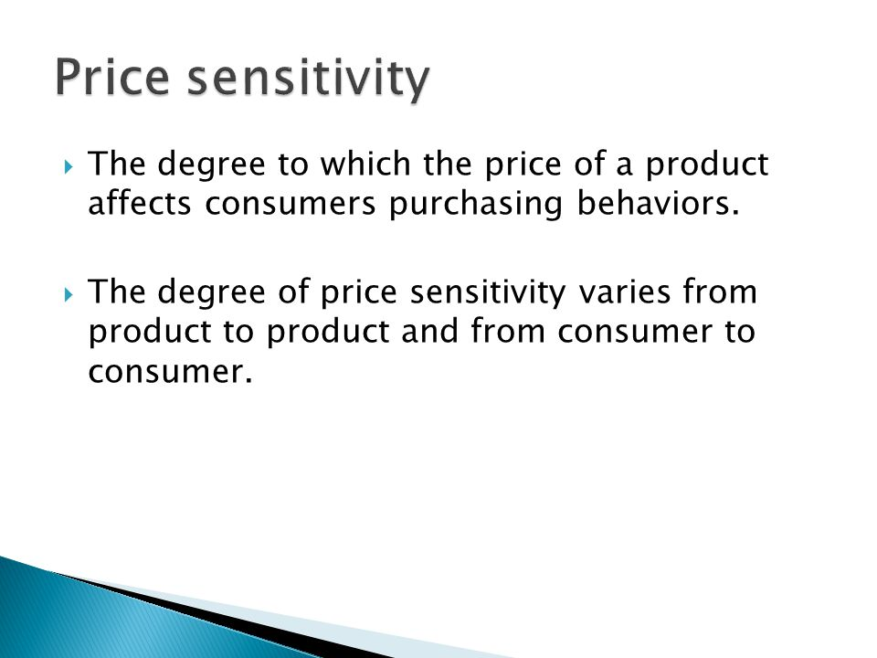 Price sensitivity The degree to which the price of a product affects consumers purchasing behaviors.