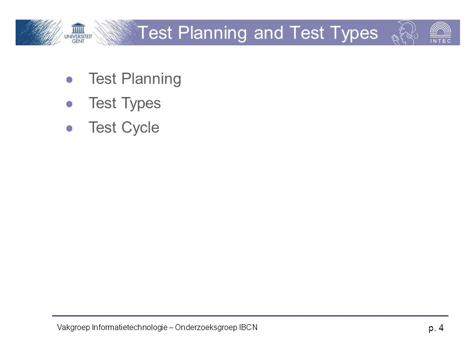 Test Planning and Test Types